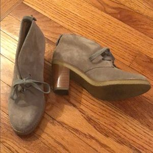 coach heeled booties, grey